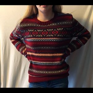 Red patterned crewneck sweater